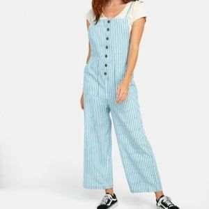 RVCA SHOUTOUT STRIPED JUMPSUIT